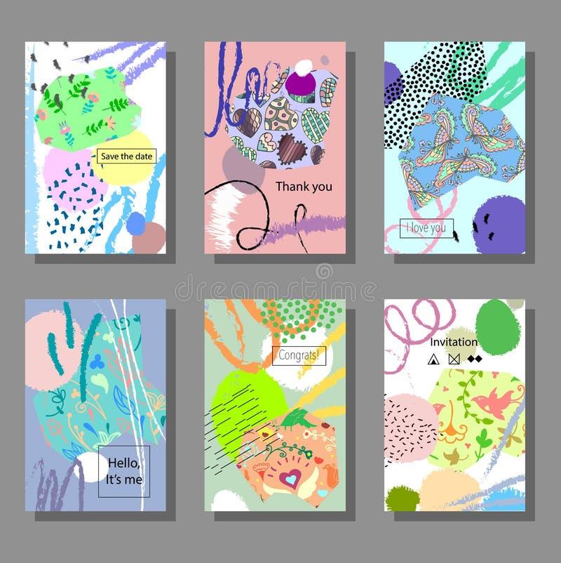 Σύνολο καλλιτεχνικών ζωηρόχρωμων καρτών Καθιερώνον τη μόδα ύφος της Μέμφιδας Καλύψεις με το επίπεδο γεωμετρικό σχέδιο απεικόνιση αποθεμάτων