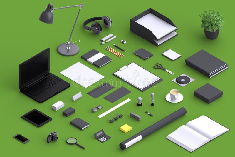 Σύνολο κενών αντικειμένων γραφείων ποικιλίας που οργανώνονται για την παρουσίαση επιχείρησης διανυσματική απεικόνιση