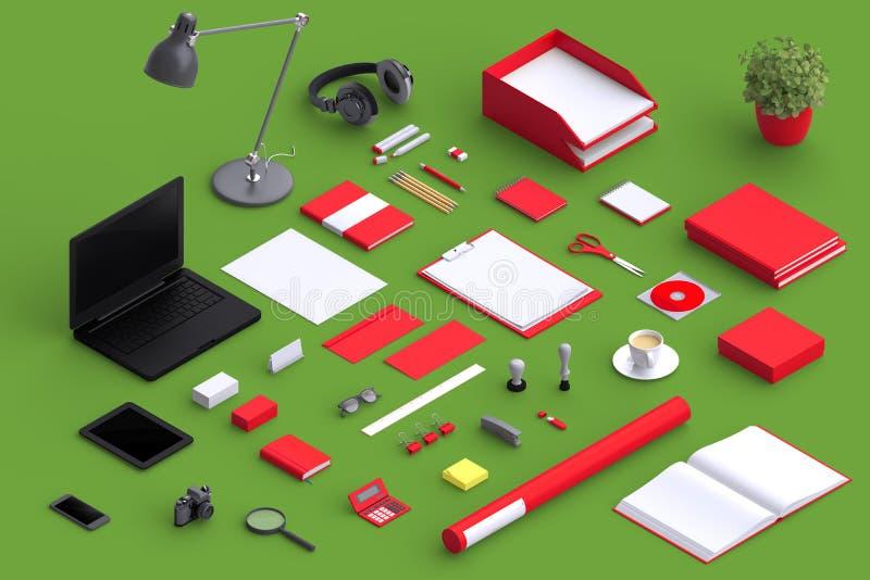Σύνολο κενών αντικειμένων γραφείων ποικιλίας που οργανώνονται για την παρουσίαση επιχείρησης απεικόνιση αποθεμάτων