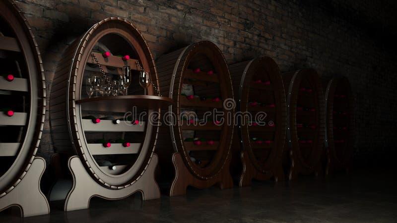 Σύνολο κελαριών κρασιού των μπουκαλιών κρασιού απεικόνιση αποθεμάτων