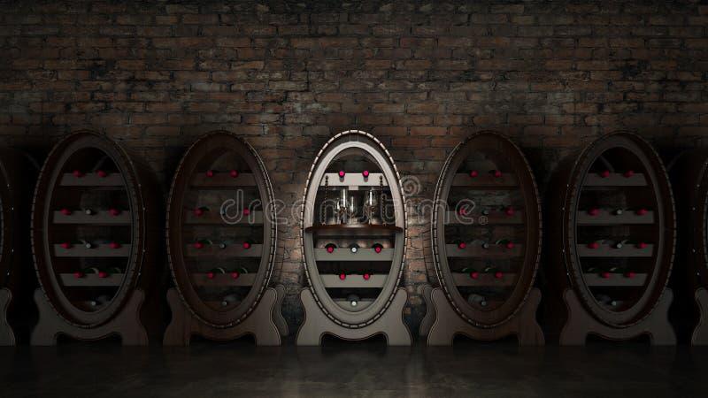 Σύνολο κελαριών κρασιού των μπουκαλιών κρασιού ελεύθερη απεικόνιση δικαιώματος