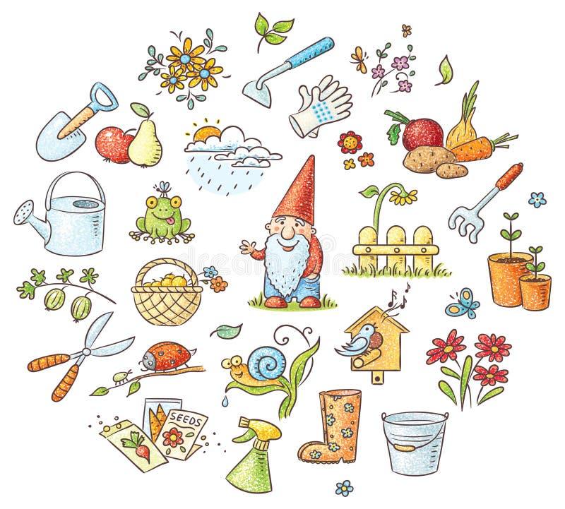 Σύνολο κηπουρικής κινούμενων σχεδίων ελεύθερη απεικόνιση δικαιώματος