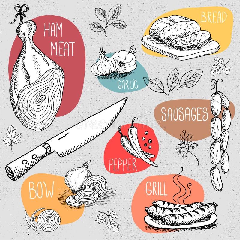 Σύνολο κιμωλίας που επισύρεται την προσοχή σε τρόφιμα πινάκων, καρυκεύματα ελεύθερη απεικόνιση δικαιώματος