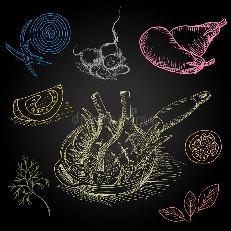 Σύνολο κιμωλίας χρώματος που επισύρεται την προσοχή σε τρόφιμα πινάκων απεικόνιση αποθεμάτων