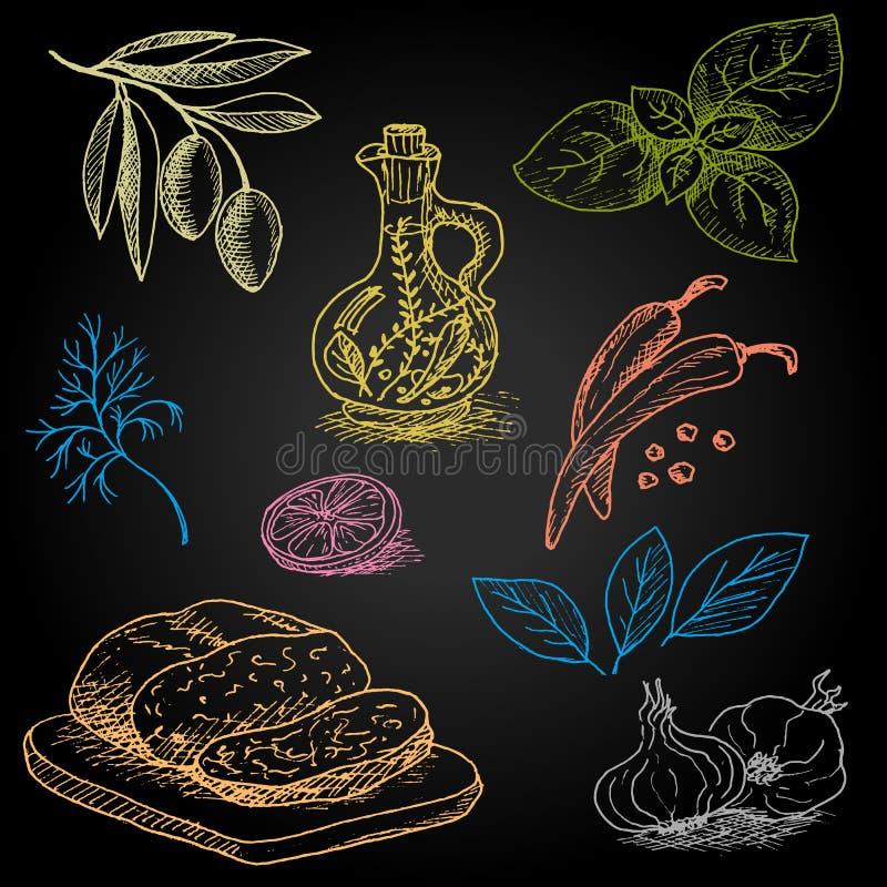 Σύνολο κιμωλίας χρώματος που επισύρεται την προσοχή σε τρόφιμα πινάκων ελεύθερη απεικόνιση δικαιώματος