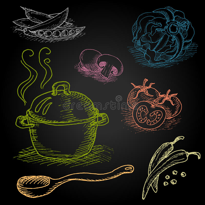 Σύνολο κιμωλίας χρώματος που επισύρεται την προσοχή σε τρόφιμα πινάκων διανυσματική απεικόνιση
