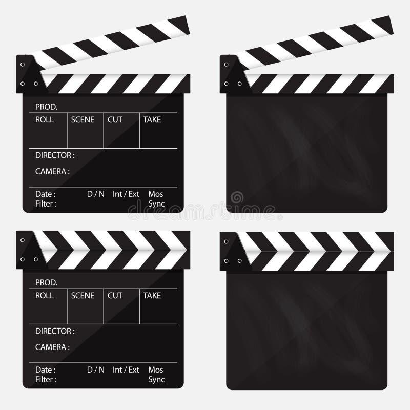 Σύνολο κινηματογράφου clapperboard κενός κινηματογράφος clapperboard διάνυσμα απεικόνιση αποθεμάτων