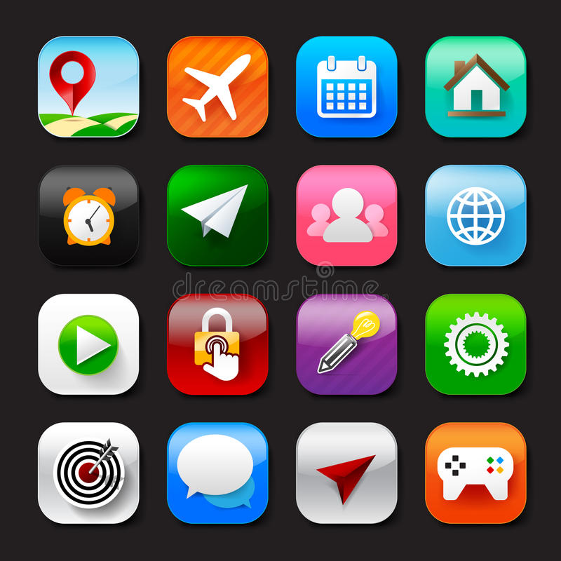 Σύνολο κινητό app και κοινωνικό μέσων διανυσματικό eps10 σύνολο 002 εικονιδίων ελεύθερη απεικόνιση δικαιώματος
