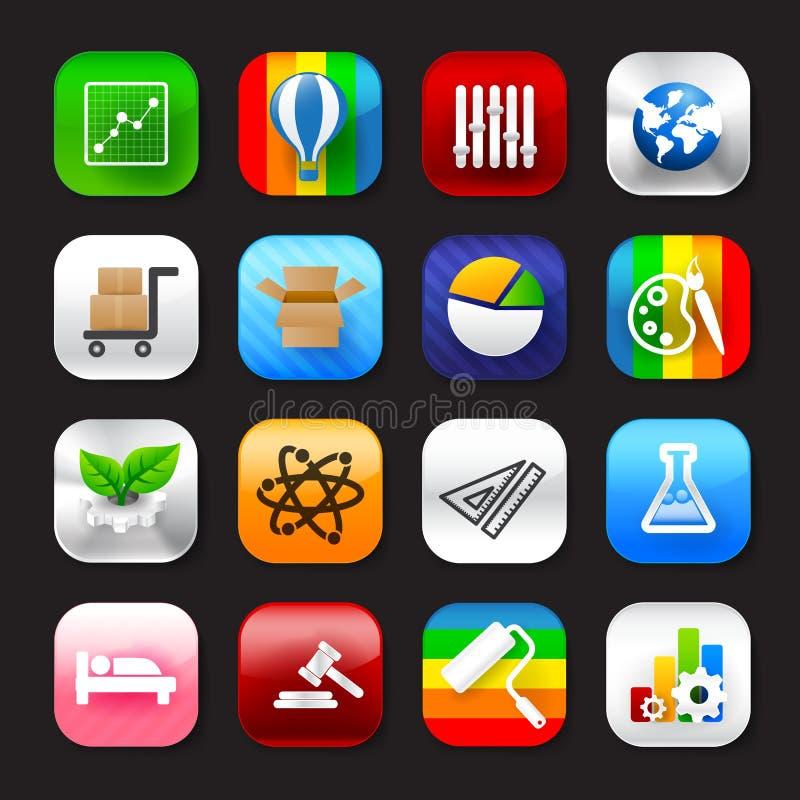Σύνολο κινητό app και κοινωνικό μέσων διανυσματικό eps10 σύνολο 006 εικονιδίων ελεύθερη απεικόνιση δικαιώματος