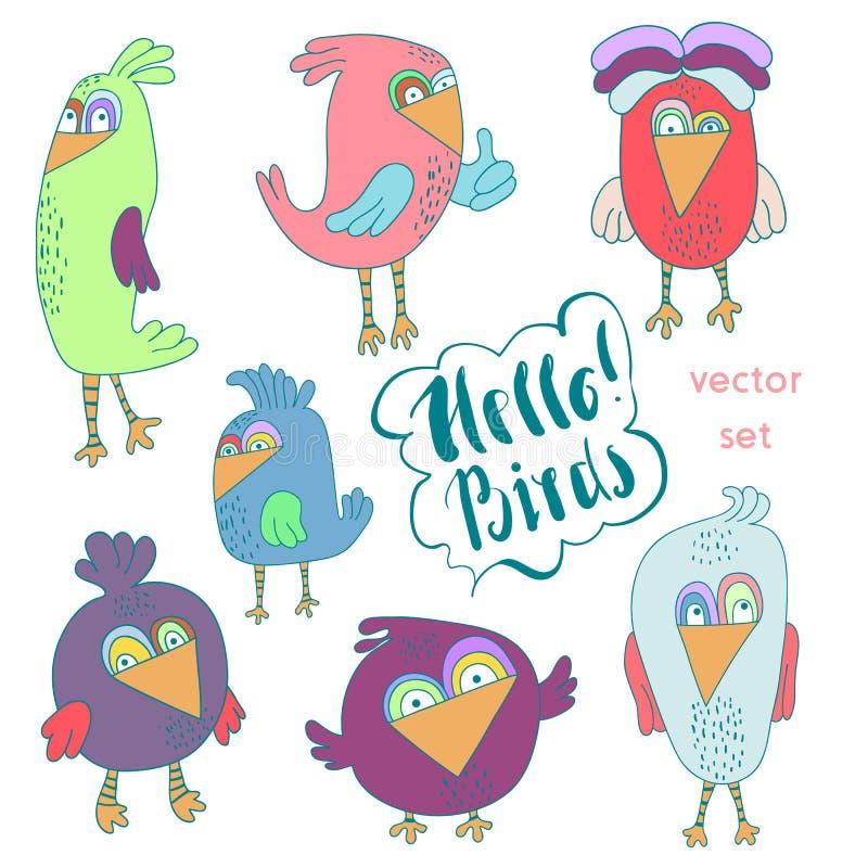 Σύνολο κινούμενων σχεδίων αστείου ζωηρόχρωμου πουλιού Μικρά χαριτωμένα πουλιά που απομονώνονται Διανυσματική συλλογή απεικόνισης ελεύθερη απεικόνιση δικαιώματος
