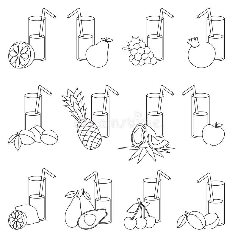 Σύνολο κινούμενων σχεδίων χυμών φρούτων Σελίδα που χρωματίζεται ελεύθερη απεικόνιση δικαιώματος