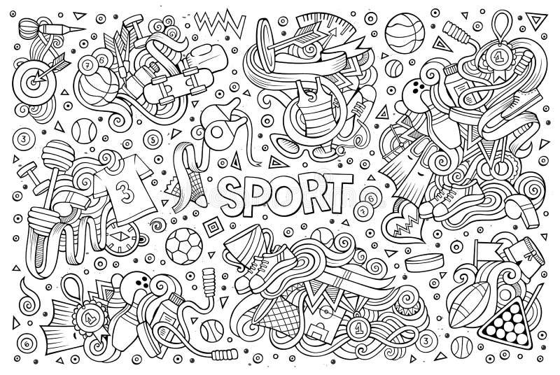Σύνολο κινούμενων σχεδίων Doodle αθλητικών σχεδίων απεικόνιση αποθεμάτων
