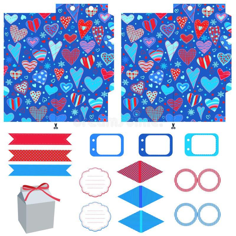 Download Σύνολο κομμάτων προτύπων κιβωτίων δώρων Διανυσματική απεικόνιση - εικονογραφία από καρδιά, print: 62700872