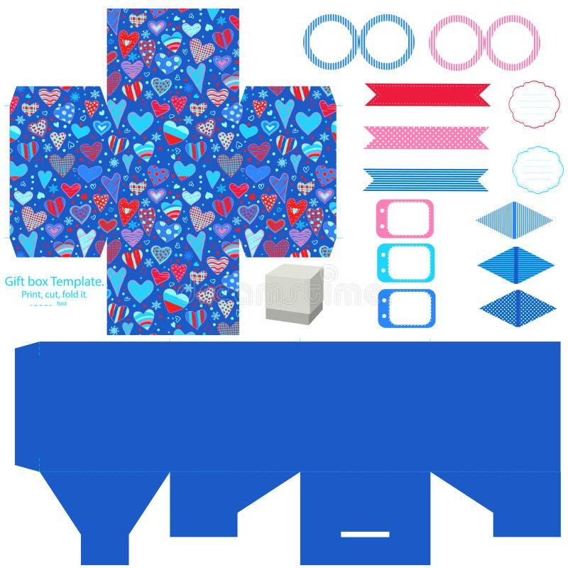 Download Σύνολο κομμάτων προτύπων κιβωτίων δώρων Διανυσματική απεικόνιση - εικονογραφία από μπισκότα, cupcake: 62701275
