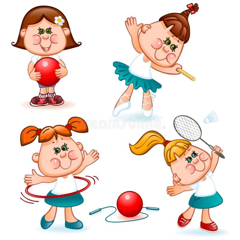 Σύνολο κοριτσιών αθλητικών σχολείων διανυσματική απεικόνιση