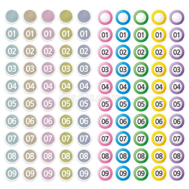 Σύνολο κουμπιού με τον αριθμό διανυσματική απεικόνιση