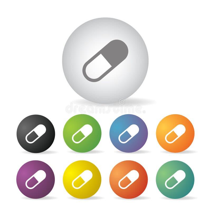 Σύνολο κουμπιών ιατρικής καψών απεικόνιση αποθεμάτων