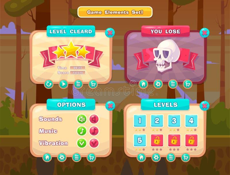 Σύνολο κουμπιών κινούμενων σχεδίων για τα περιστασιακά παιχνίδια Γραφικό ενδιάμεσο με τον χρήστη, διανυσματική απεικόνιση απεικόνιση αποθεμάτων