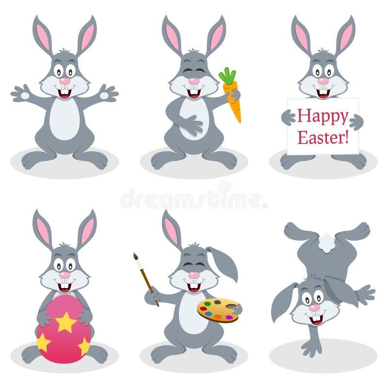 Σύνολο κουνελιών λαγουδάκι Πάσχας κινούμενων σχεδίων διανυσματική απεικόνιση