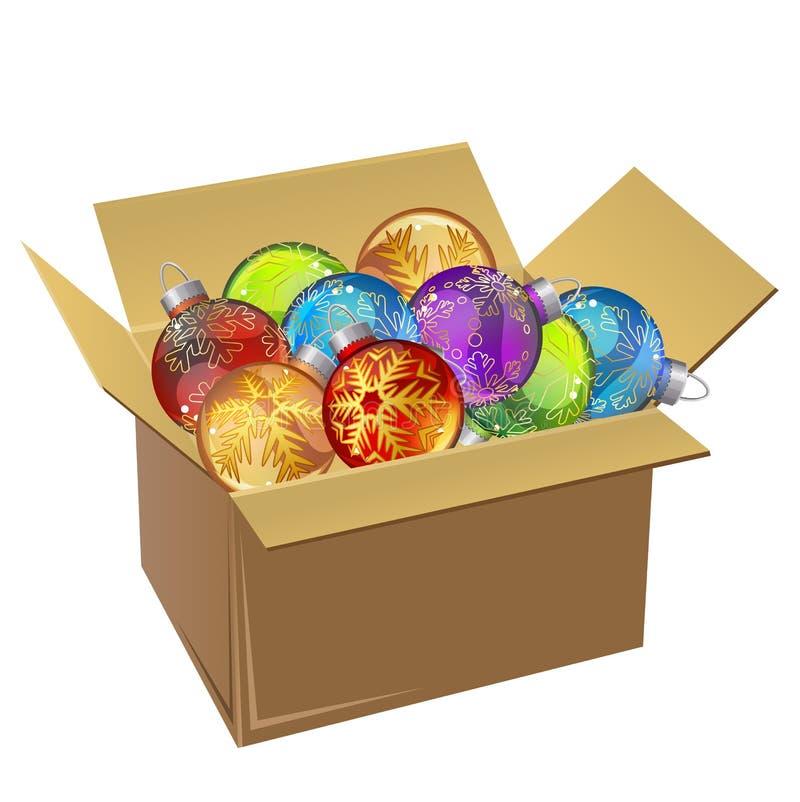 Σύνολο κουτιών από χαρτόνι των σφαιρών Χριστουγέννων που απομονώνεται ελεύθερη απεικόνιση δικαιώματος