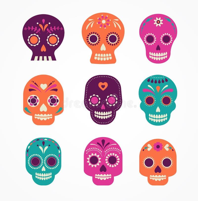 Σύνολο κρανίων, μεξικάνικη ημέρα των νεκρών διανυσματική απεικόνιση