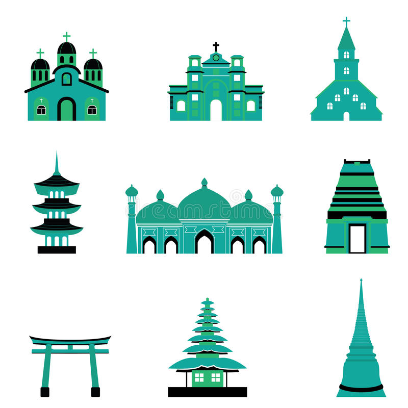 Σύνολο κτηρίου και αρχιτεκτονικής θρησκείας μουσουλμανικών τεμενών ναών εκκλησιών απεικόνιση αποθεμάτων