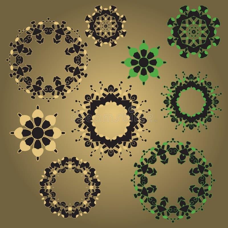 Σύνολο κυκλικών σχεδίων διανυσματική απεικόνιση