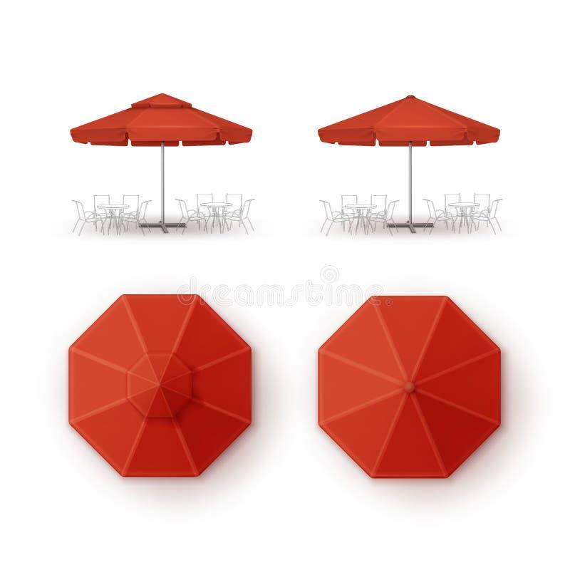 Σύνολο κόκκινου εστιατορίου καφέδων παραλιών Patio υπαίθριου γύρω από την ομπρέλα για να μαρκαρίσει τη τοπ χλεύη πλάγιας όψης επά απεικόνιση αποθεμάτων