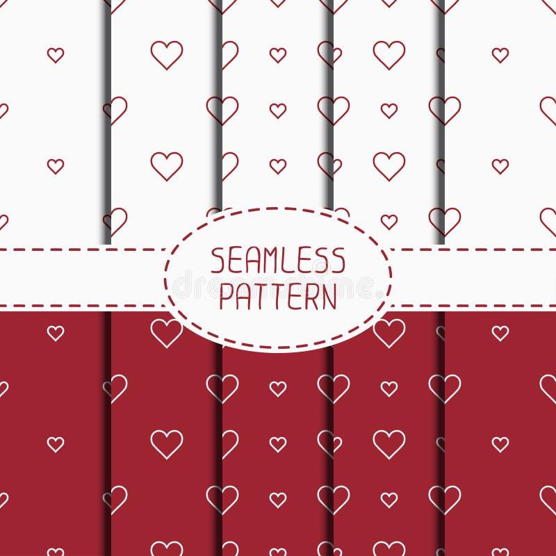 Σύνολο κόκκινου ρομαντικού γεωμετρικού άνευ ραφής σχεδίου ελεύθερη απεικόνιση δικαιώματος