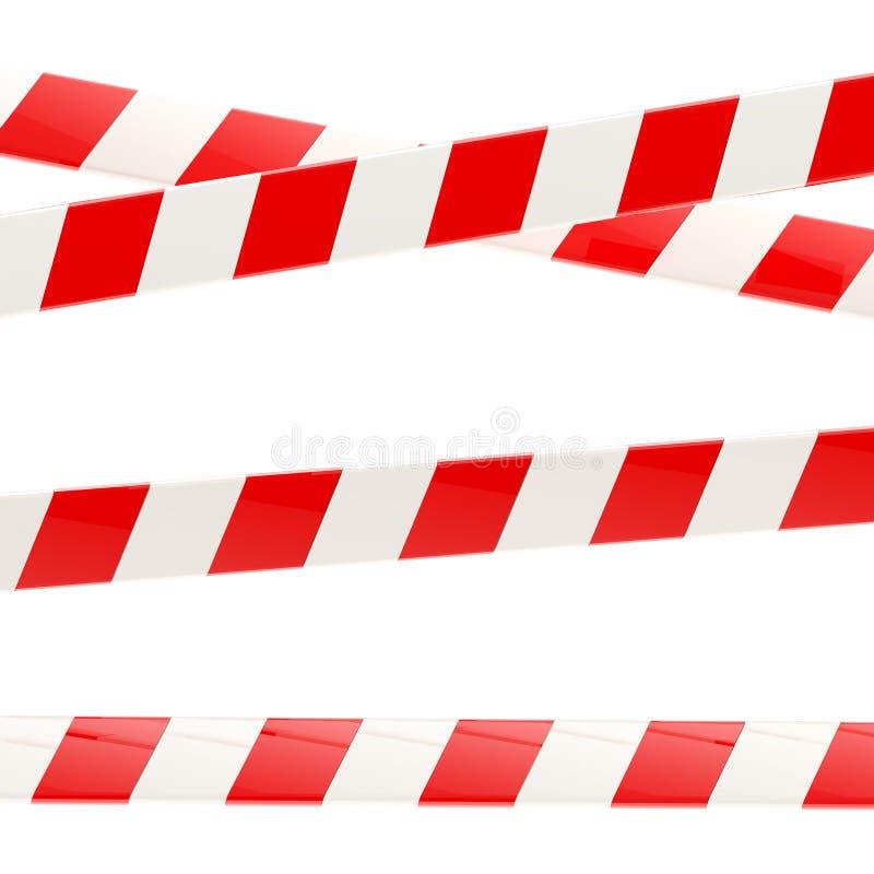 Σύνολο κόκκινων και άσπρων στιλπνών ταινιών εμποδίων απεικόνιση αποθεμάτων