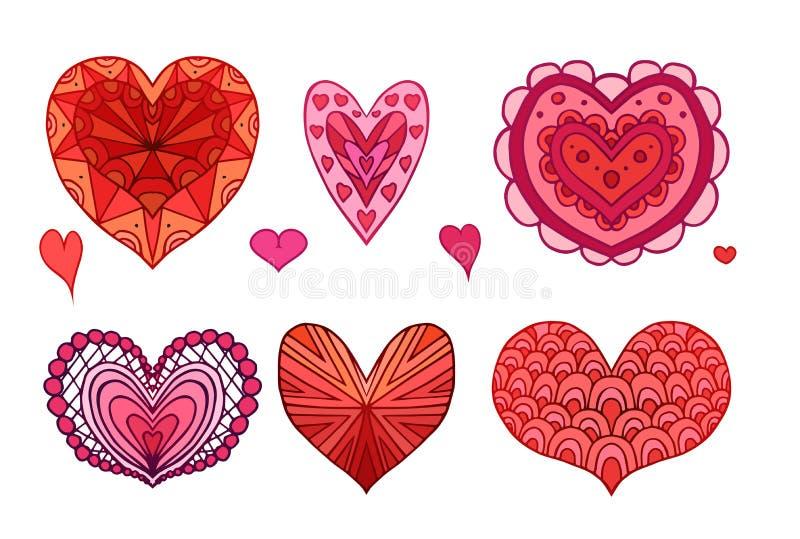 Σύνολο κόκκινων και ρόδινων σχεδίων boho doodle διακοσμημένων καρδιές διανυσματική απεικόνιση