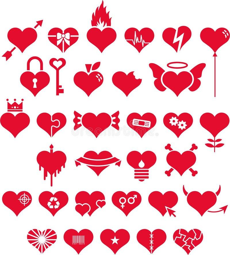 Σύνολο κόκκινων καρδιών αγάπης ελεύθερη απεικόνιση δικαιώματος