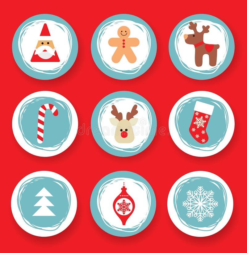 Σύνολο κύκλου Χριστουγέννων στοιχείων σχεδίου απεικόνιση αποθεμάτων