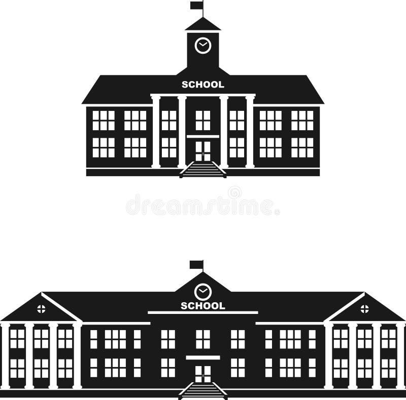 Σύνολο κλασσικού σχολικού κτιρίου σκιαγραφιών ελεύθερη απεικόνιση δικαιώματος