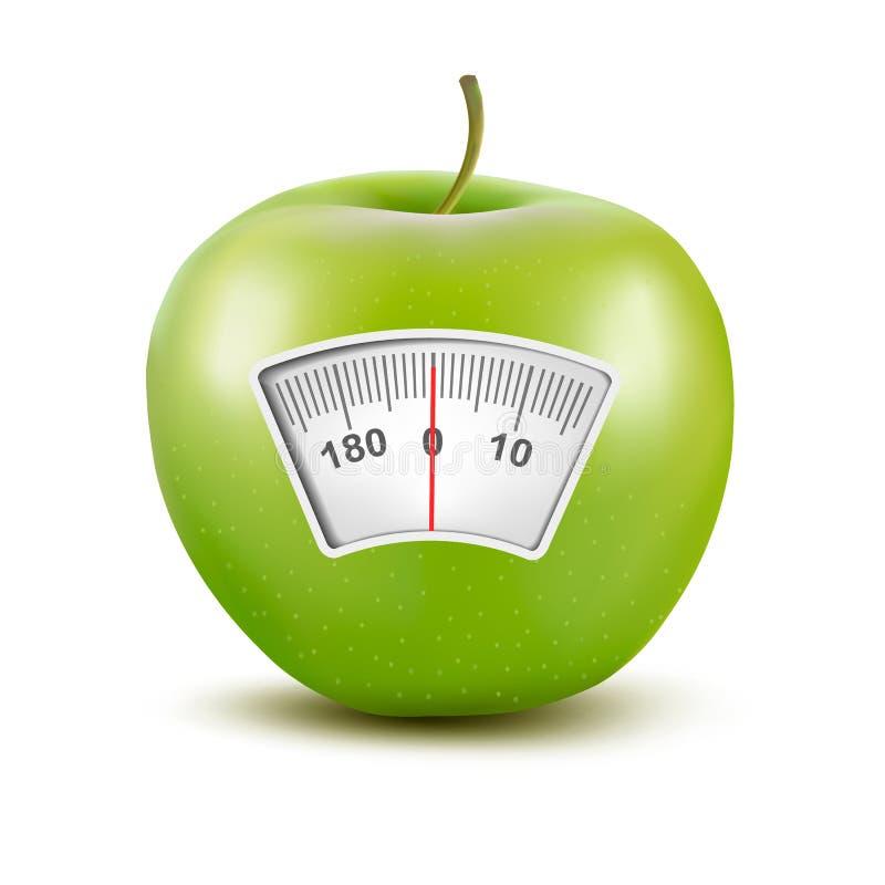 Σύνολο μήλων με μια κλίμακα βάρους. Έννοια διατροφής. ελεύθερη απεικόνιση δικαιώματος