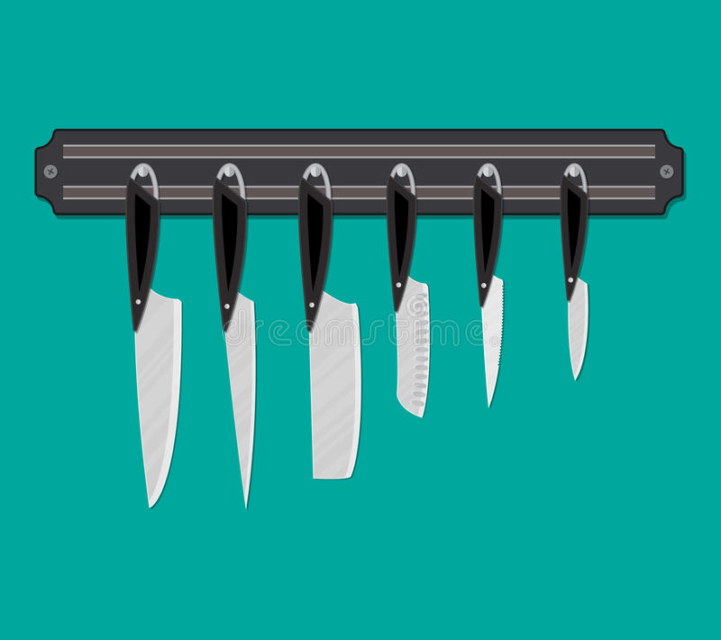 Σύνολο μαχαιριών κουζινών για τα διάφορα προϊόντα ελεύθερη απεικόνιση δικαιώματος