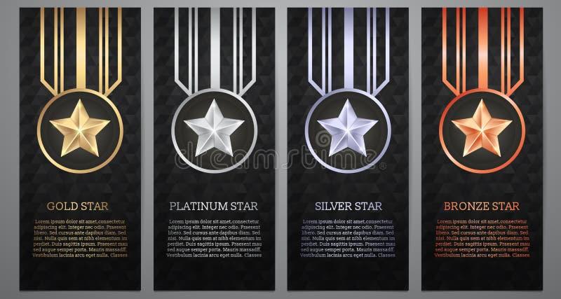Σύνολο μαύρου αστεριού εμβλημάτων, χρυσού, λευκόχρυσου, ασημιών και χαλκού, Vect στοκ εικόνα