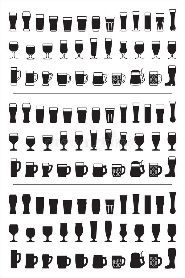Σύνολο μαύρου γυαλιού μπύρας εικονιδίων Γυαλιά μπύρας και σκιαγραφίες κουπών επίσης corel σύρετε το διάνυσμα απεικόνισης ελεύθερη απεικόνιση δικαιώματος
