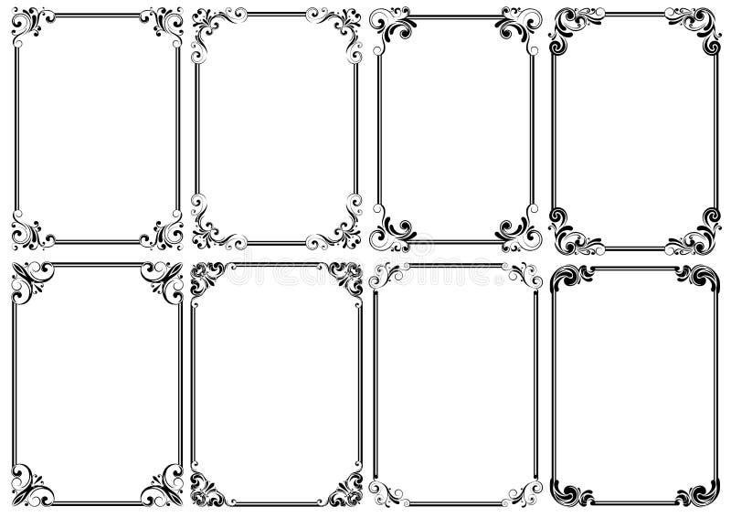 Σύνολο μαύρου διακοσμητικού πλαισίου οκτώ διανυσματική απεικόνιση
