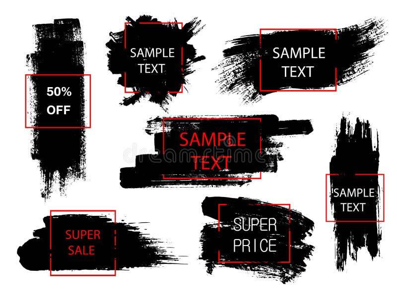 Σύνολο μαύρου χρώματος, κτυπημάτων βουρτσών μελανιού και γεωμετρικών μορφών Δημιουργικά στοιχεία σχεδίου Θέση για το κείμενο ή το απεικόνιση αποθεμάτων
