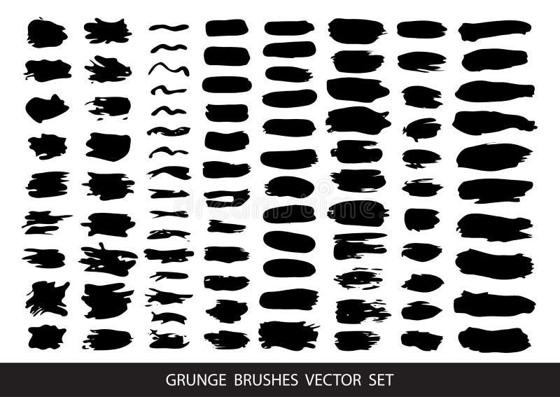 Σύνολο μαύρου χρώματος, μελάνι, grunge, βρώμικα κτυπήματα βουρτσών διάνυσμα ελεύθερη απεικόνιση δικαιώματος