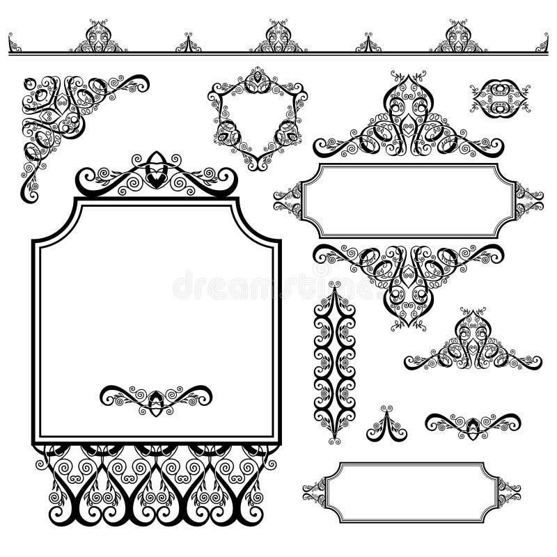 Σύνολο μαύρων άσπρων στοιχείων σχεδίου και διακόσμησης σελίδων απεικόνιση αποθεμάτων