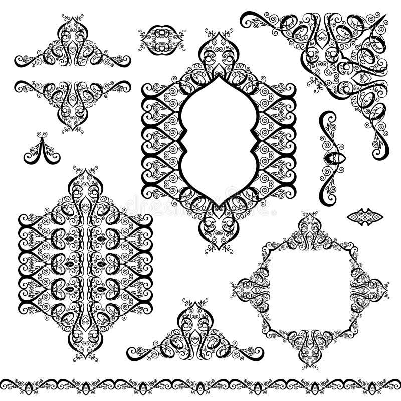 Σύνολο μαύρων άσπρων στοιχείων σχεδίου και διακόσμησης σελίδων διανυσματική απεικόνιση