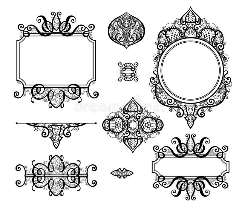 Σύνολο μαύρων άσπρων στοιχείων σχεδίου και διακόσμησης σελίδων ελεύθερη απεικόνιση δικαιώματος