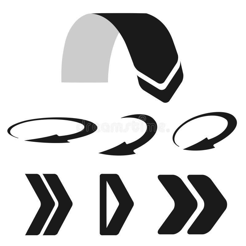 Σύνολο μαύρων βελών Κάτω από, κυκλικά και σωστά κουμπιά απεικόνιση αποθεμάτων