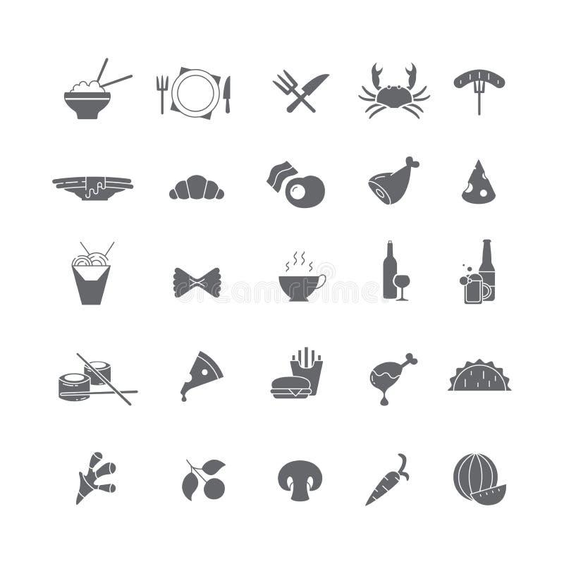 Σύνολο μαύρων εικονιδίων με τα τρόφιμα διανυσματική απεικόνιση