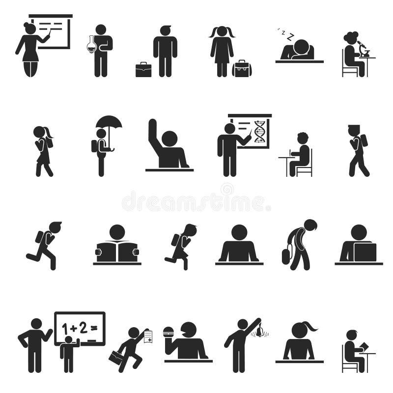 Σύνολο μαύρων εικονιδίων σκιαγραφιών παιδιών σχολείου απεικόνιση αποθεμάτων