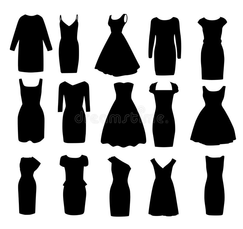 Σύνολο μαύρων διαφορετικών μορφών των φορεμάτων σφαιρών βραδιού διανυσματική απεικόνιση