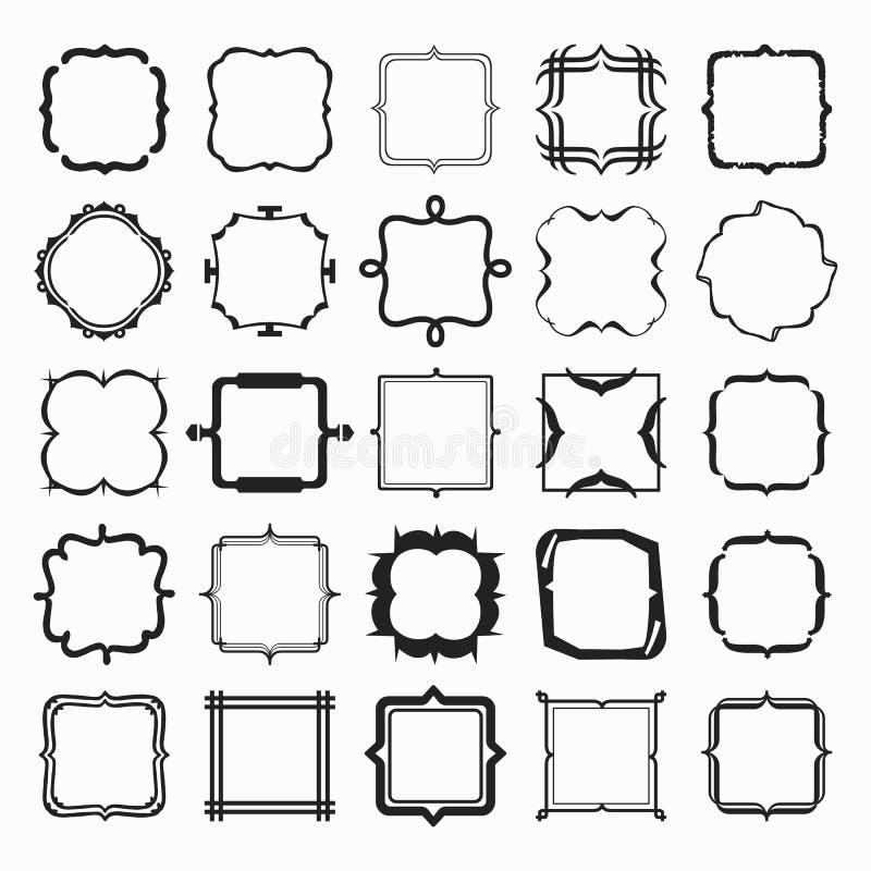 Σύνολο μαύρων διαφορετικών στοιχείων σχεδίου εμβλημάτων και πλαισίων γραμμών μορφών ελεύθερη απεικόνιση δικαιώματος