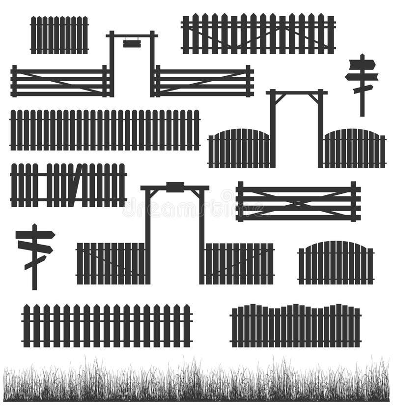 Σύνολο μαύρων φρακτών με τις πύλες ελεύθερη απεικόνιση δικαιώματος